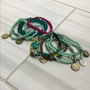 Bohemian beaded layered bracelets bundle